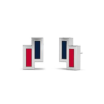 Samford University Sterling Silver Asymmetric Enamel Stud Earrings In Blue & Red