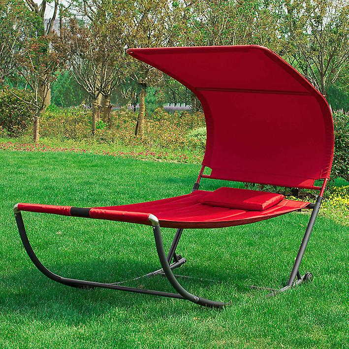 SoBuy Swing Sun Bed avec Sun Shade Outdoor Garden,OGS44-R