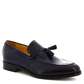 Leonardo Shoes Men's handmade tassel loafers shoes in navy blue calf leather