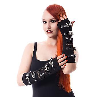 Poizen industries riot armwarmers - czarne gotyckie rękawy na pasek na klamry punkowe