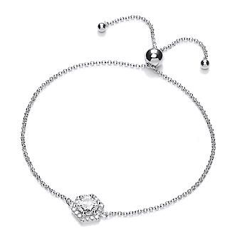 Jewelco London Rhodium Silver White Round Crystal Zirconia Solitaire Hexagonal Charm Bead Adjustable Toggle Bracelet