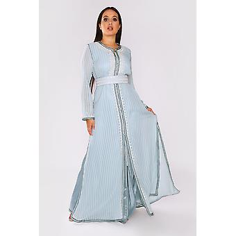 Lebssa utopia occasion wear formal layered maxi dress and belt in striped blue