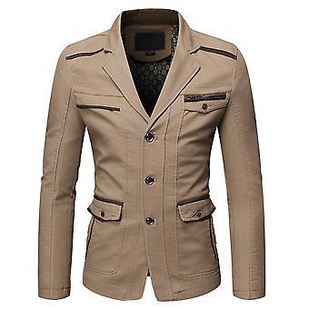 Allthemen Men's Notch Lapel Business Casual Cotton Suit Giacca