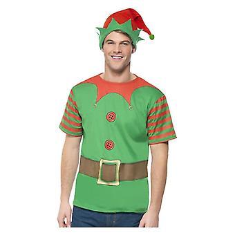 Mens kerst elf fancy dress Kit met T-shirt & hoed