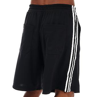 Mens Y-3 Stripe Track Shorts In Black- Ribbed Waistband- Pockets To Sides-