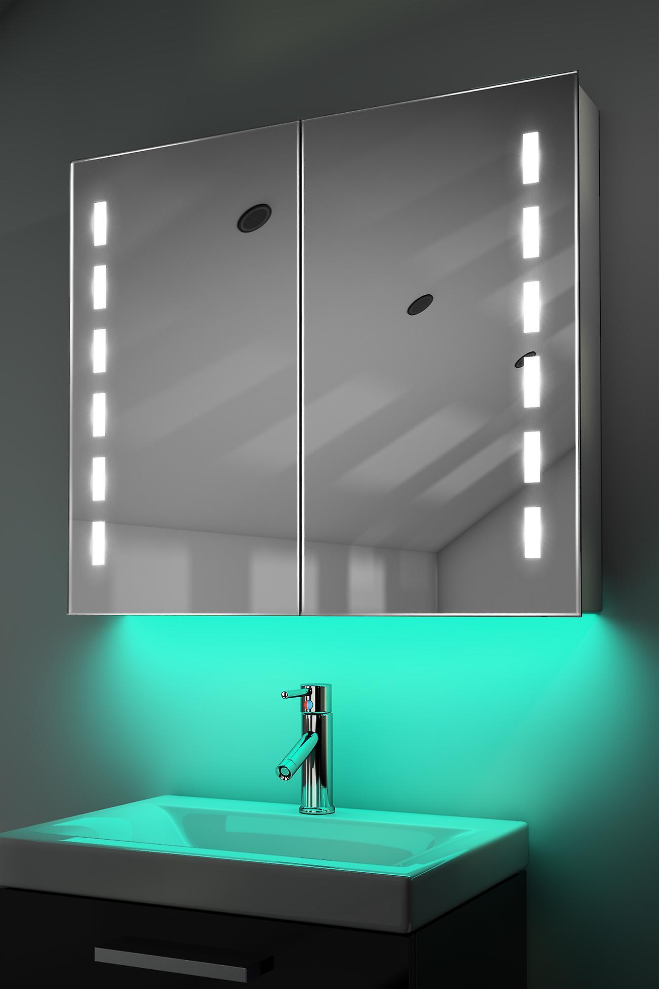 Demist Cabinet With LED Under Lighting, Sensor & Internal Shaver k367w