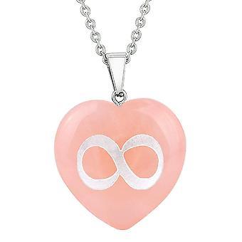 Amulet Infinity magiske enhed beføjelser beskyttelse energi rosenkvarts oppustede hjerte vedhæng halskæde