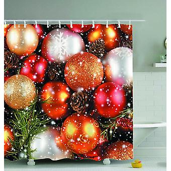 Shiny Gold Christmas Balls Shower Curtain