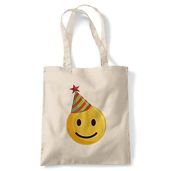 Smiley Christmas Emoji Party hat tote | Secret Santa strømpe filler gave til stede ideal | Gjenbrukbare shopping Cotton Canvas Long håndtert Natural shopper miljøvennlig mote