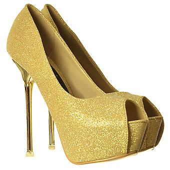 Onlineshoe Party Mid Heel Glitter Court, Peep Toe Shoes  - Gold Heel Detail - Gold, Silver, Black