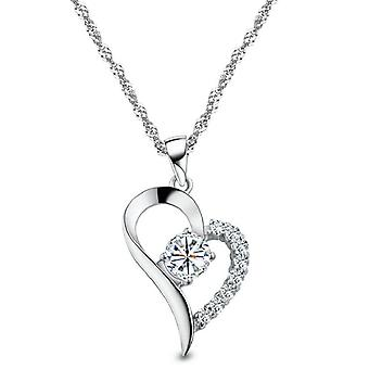 18k white-gold plated heart necklace