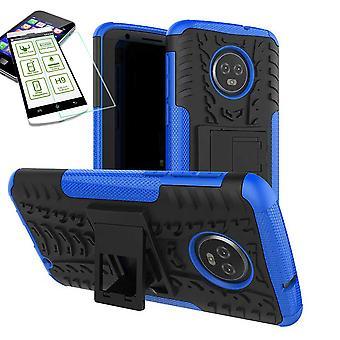 För Motorola Moto G6 hybrid fall 2 bit blå + härdat glas väska fallet täcker ärm