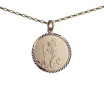 9ct Gold 25mm round diamond cut edge St Christopher Pendant with a 1.4mm wide belcher Chain 24 inches
