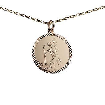 9ct Gold 25mm Runde Diamant geschnitten Kante St Christopher Anhänger mit einem 1,4 mm breiten Belcher Kette 24 Zoll