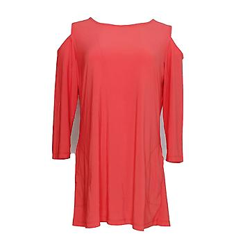 Attitudes by Renee Women's Top Jersey Cold Shoulder Tunic Red A301313