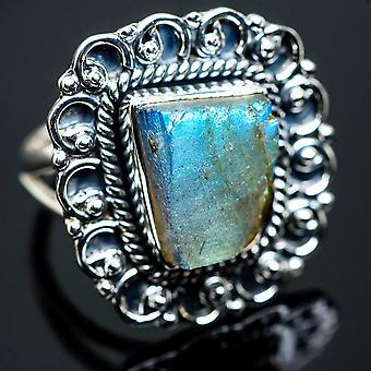 Large Rough Labradorite Ring Size 8 (925 Sterling Silver)  - Handmade Boho Vintage Jewelry RING990671