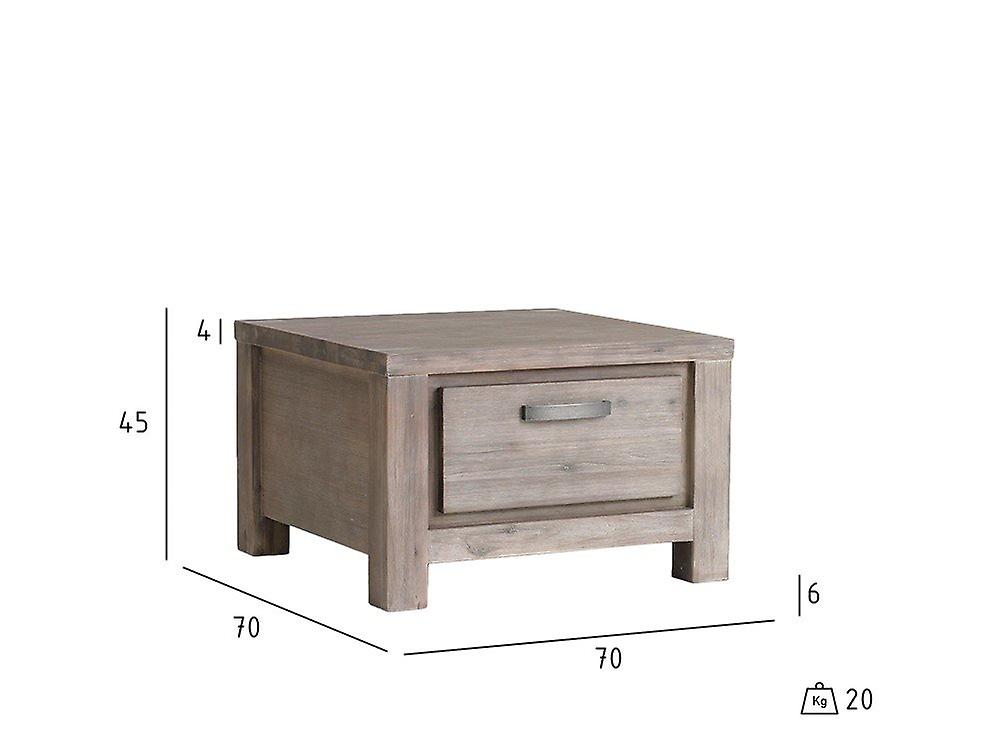 Furnhouse Alaska Square Coffe Table with Drawer, Solid Acacia, 70x70x45 cm