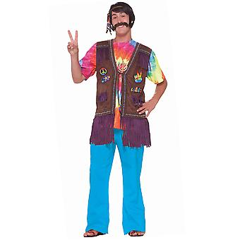 Hippie Hippy Peace Gilet 1970faux Suede Fringed Men Costume Vest com Patches
