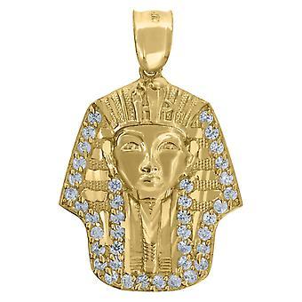 10k Guld Cubic Zirconia Dc Herre Farao Højde 31.9mm X Bredde 21.1mm egyptiske charme vedhæng