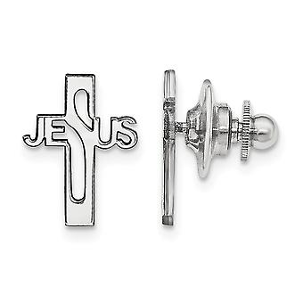 925 Sterling Silver Rhodium plated Jesus Religious Faith Cross Tie Tac Jewelry Gifts for Men