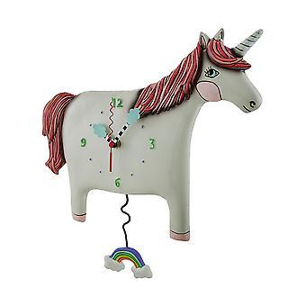 Buttercup Pink / White Unicorn Pendulum Wall Clock