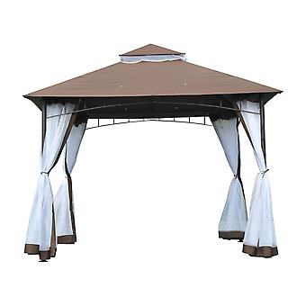 Outsunny 3 x 3 meter Patio Metal Gazebo Square Outdoor Party Wedding Canopy Shelter w/Mesh - Brown
