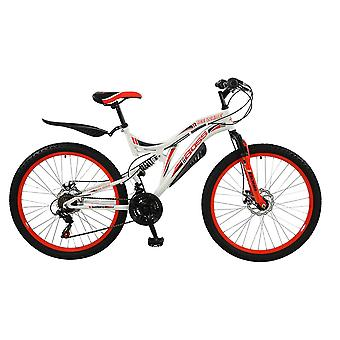 Boss Ice White Unisex 26 inch Full Suspension Mountain Bike Red/White Ages 12