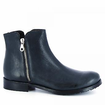 Botas de tornozelo artesanais da Leonardo Shoes Women'botas de tornozelo artesanais em couro de bezerro azul com zíper lateral