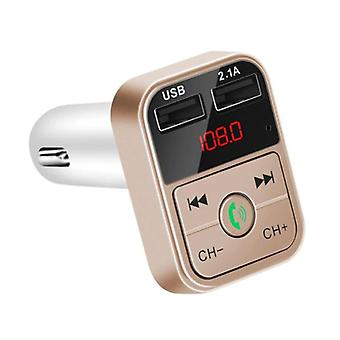 Stuff Certified® Dual USB Car Charger Bluetooth Handsfree FM Radio Kit Gold