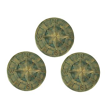 Compass Rose Lightweight Cement Wall Plaque Nautical Decor Indoor Outdoor Set of 3