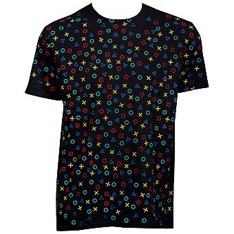 PlayStation All Over Controller Buttons T-Shirt
