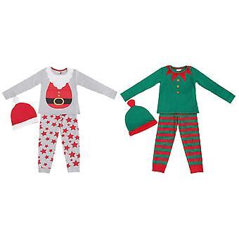 Kinder/Kids Weihnachten Design Langarm Top, Bottoms & Hut Set