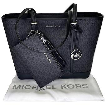 マイケルコースジェットセット署名mk小さなトップジップトート黒+財布のダストバッグ