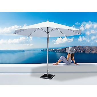Parasol Bermuda, 3,5m, Blanc, avec Pied de parasol
