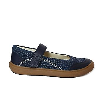 Clarks Flash Stride Kids Navy Leather Girls Rip Tape Shoes