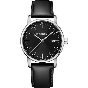 Wenger Urban Classic Quartz Black Dial Leather Strap Men's Watch 01.1741.110