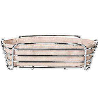 Blomus bread basket DELARA chromed steel wire with cotton insert Rose Dust pink