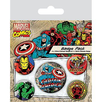 Marvel Retro Captain America Pin Button Insigne Set