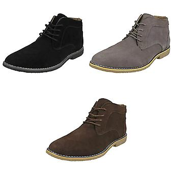 Malvern Mens Lace Up Leather Suede Ankle Boots
