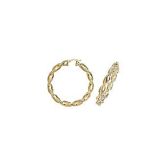Eternity 9ct Gold Large Round 50mm Twisted Creole Hoop Earrings