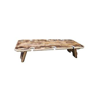 Burnt Finish 6 Glasses Portable Folding Wine Table In Reclaimed Wood