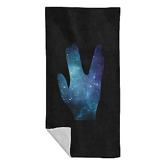 Star Trek Galaxy Silhouette Vulcan Salute Beach Towel