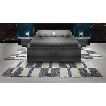 Shaggy Runner Set High Flor Rug Set Bed Border Turquoise Grey White Set van 3