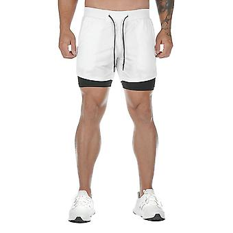 Allthemen Men's Polyester Tether Fake Two Pieces Casual Shorts