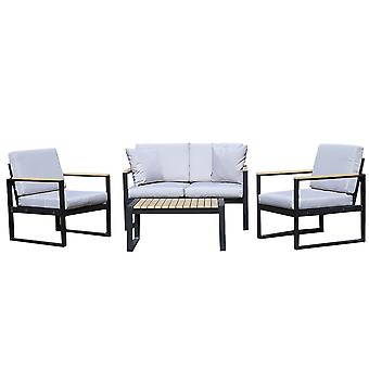Charles Bentley schwarz Quadratische Beine starke Extrusion Aluminium Lounge Set mit 10cm dicke Kissen Polyester Industriestil