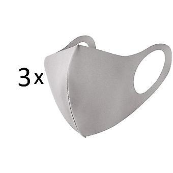 3 Pack Face Mask, Washable Anti Dust Cloth Mask, Beige / Light Grey