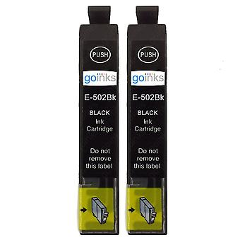 2 Go Inks Black Ink Cartridges to replace Epson 502XLBk Compatible / non-OEM for Epson WorkForce & Expression Printers 2 Go