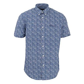 Men's Ben Sherman Floral Print Kurzarm Shirt in blau
