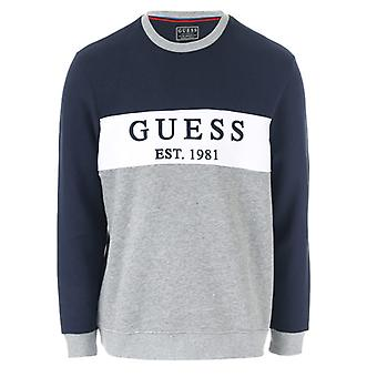 Men's Guess Core Logo Fleece Crew Sweatshirt in blau