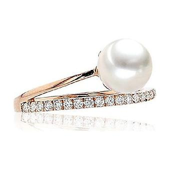 Luna-Pearls Bead Ring Akoyaperle 7.5-7 mm 585 Rosegold 21 Brilliant000 0.23 ct. Ring size 56 (17.8mm) 3001180-004